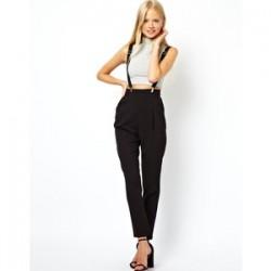 Yüksek Bel Askılı Pantolon Modeli