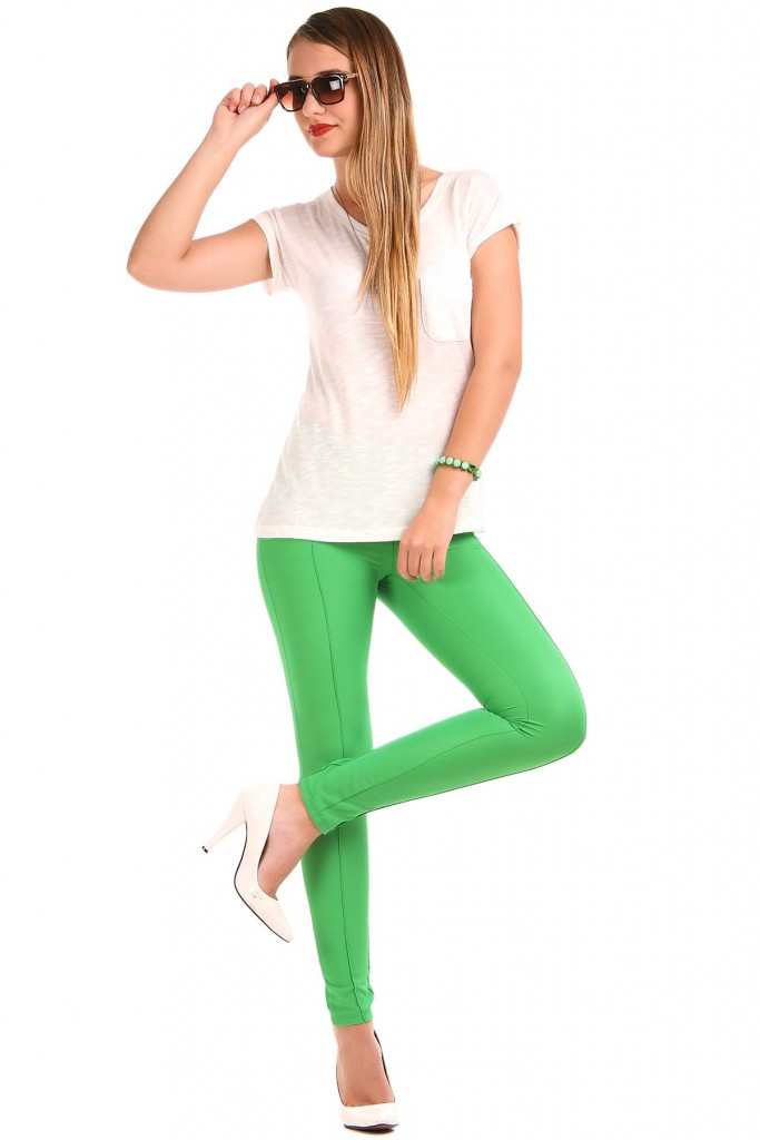 Yandan Fermuarlı Yeşil Renkli Patırtı Tayt Modelleri