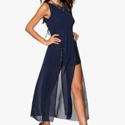 Yeni Sezon Saks Mavisi Elbise Modelleri