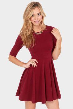 2016 Bordo Renkli Kloş Elbise Modeli