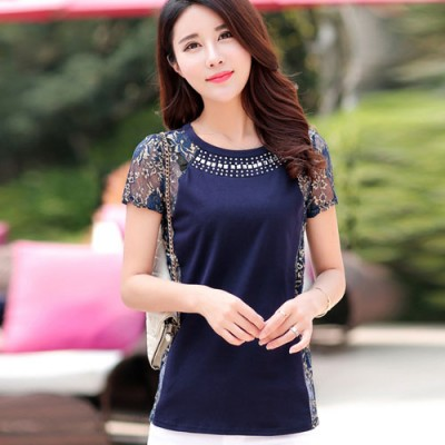 Mavi Renkli Dantelli Bluz Modelleri