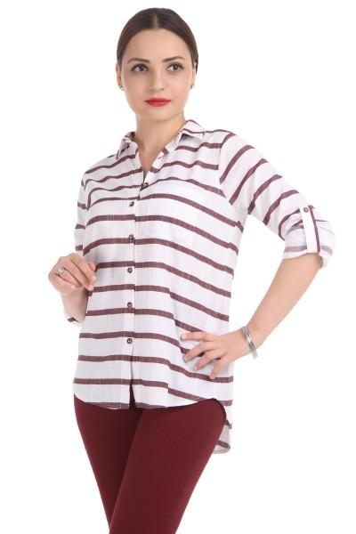 Patırtı Çizgili Bayan Gömlek Modelleri