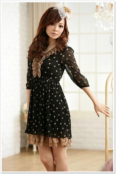 Puantiyeli Japon Stili Elbise Modelleri