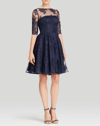 Saks Mavisi Dantel Süslemeli Kloş Elbise Modeli