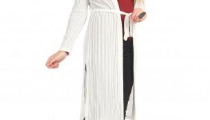 Yeni Sezon Patırtı Yandan Yırtmaçlı Beyaz Renkli Hırka Modeli
