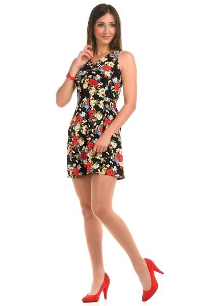Çiçek Desenli Mini Patırtı Elbise Modeli 2016