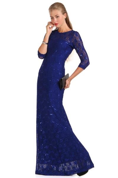 En Şık Saks Mavisi Patırtı Giyim Abiye Modeli