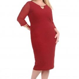 Kırmızı Renkli Çok Zarif Büyük Beden Elbise Modelleri