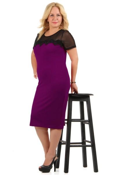Mor Renkli Tül Detaylı Elbise Modeli 2016