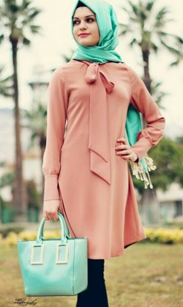 Pudra Renkli Tunik Elbise Modelleri