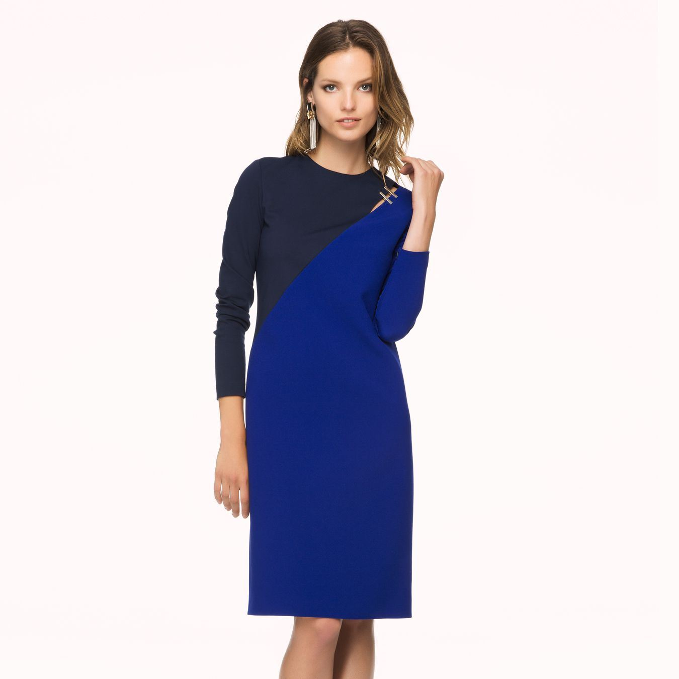 Saks Mavisi Midi Elbise Modeli