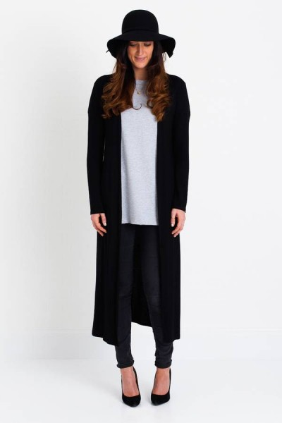 Siyah Renkli Uzun Hırka Modelleri