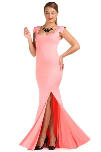 Somon Renkli Patırtı Giyim Abiye Modeli