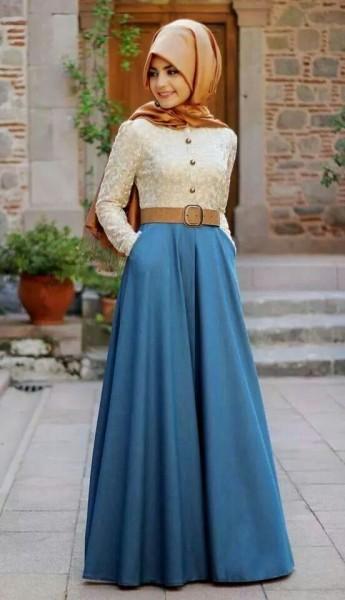 Tesettür Giyim Yükske Bel Kloş Etek Kombinleri
