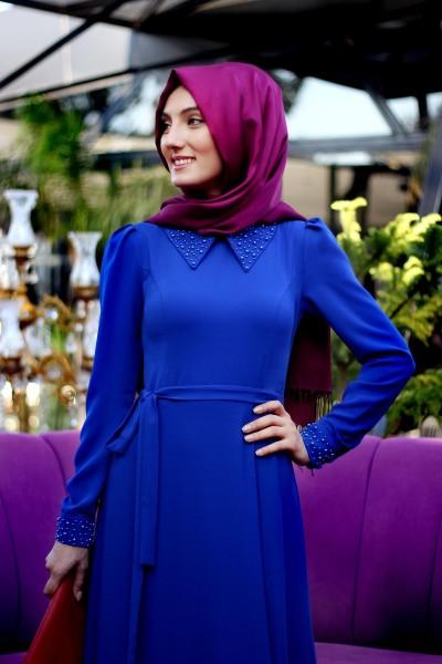 İnci Detaylı Saks Mavisi Patırtı Tesettür Elbise Modeli 2016