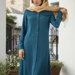 Petrol Mavisi Önden Düğmeli Tesettür Tunik Elbise Modeli