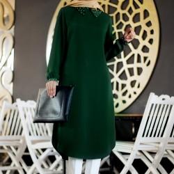 Yeşil Renkli Çok Şık Pantolon Üstü Tunik Elbise Modeli