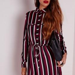 Çizgili Gömlek Elbise Modelleri 2016
