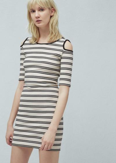 Çizgili Omuzları Açık Elbise Modelleri 2016