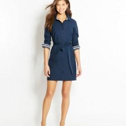 Önden Düğmeli Kemer Detaylı Gömlek Elbise Modelleri