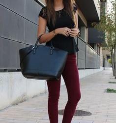 Bordo Pantolon ve Dantel Detaylı Siyah Bluz Kombinler