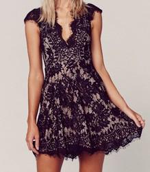 En Güzel V Yaka Dantel Elbise Modelleri