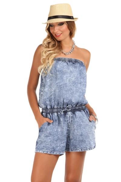 Patırtı Giyim Straplez Kot Tulum Modeli