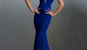 Saks Mavisi Balık Etek PArlka Taş İşlemeli Genç Abiye Modelleri 2016