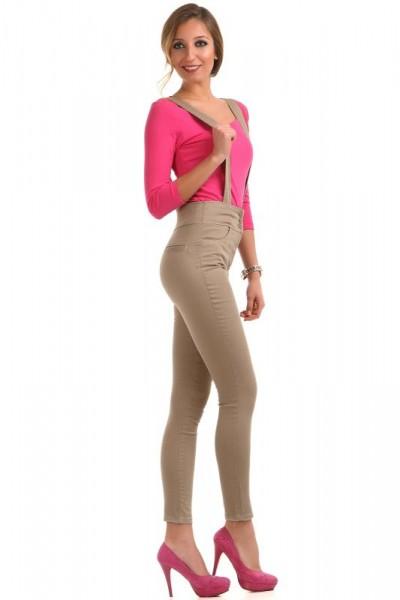 Yüksek Bel Vizon Patırtı Salopet Pantolon Modeli