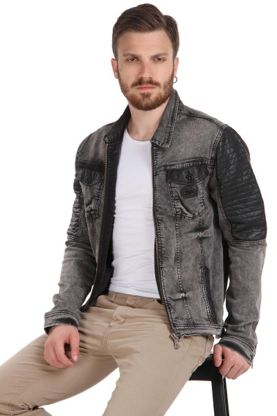Yeni Sezon Deri Kol Detaylı Kot Ceket Modeli