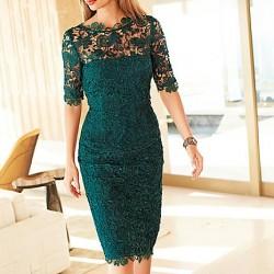 Zümrüt Yeşili Çok Zarif Dantel Elbise Modelleri