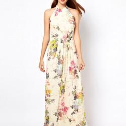 Boyundan Askılı Çiçek Desenli Yazlık Elbise Modelleri 2016