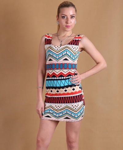 Desenli Sıfır Kol Mini Elbise Modelleri