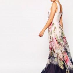 En Zarif Tül Detaylı Çiçek Desneli Elbiseler