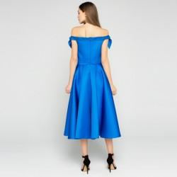 Mavi Renkli Sırt Dekolteli İpekyol Yazlık Abiye Modelleri