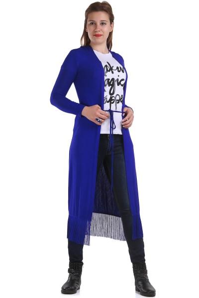 Saks Mavisi Uzun Patırtı Hırka Modelleri