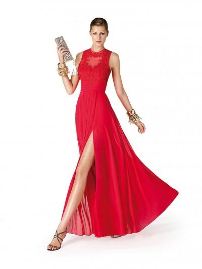 Uzun Güpür İşlemeli Kırmızı Elbise Modelleri 2016