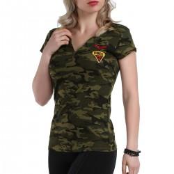 V Yaka Askeri Kamuflaj Patırtı Tişört Modelleri 2016