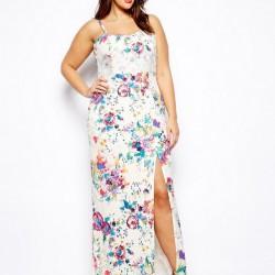 Yırtmaçlı Çiçek Desenli Yaz Elbise Modelleri 2016