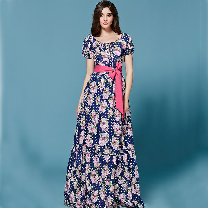 530b42cfd7583 ... Yazlık Uzun Çiçek Desenli Elbise Modelleri 2016 ...