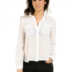 Zımba Yaka Detaylı Beyaz Şifon Gömlekler