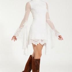 En Yeni Dantel İşlemeli Beyaz Renkli İspanyol Kol Elbise Modelleri 2016
