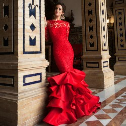 En Gösterişli Güpürlü Balık Etek Kırmızı Abiye Modelleri 2016
