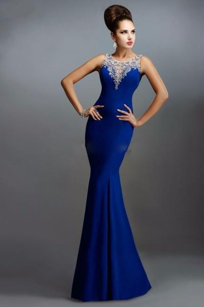 En Güzel Balık Etek Saks Mavisi Abiye Modelleri