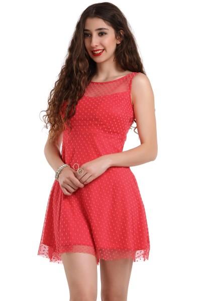 Kırmızı Renkli Mini Patırtı Giyim Yazlık Elbise Modelleri 2016