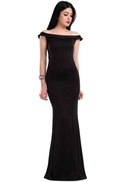 Kayık Yaka Siyah Renkli Çok Şık Patırtı Giyim Abiye Modelleri 2016