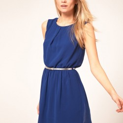 Kemer ve tül Detaylı Çok Güzel Mavi Elbise Modelleri 2016