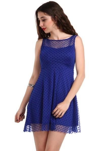 Saks Mavisi Tül Detaylı Patırtı Giyim Yazlık Elbise Modelleri 2016