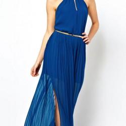 Tül Detaylı Mavi Uzun Yazlık Elbise Modelleri 2016