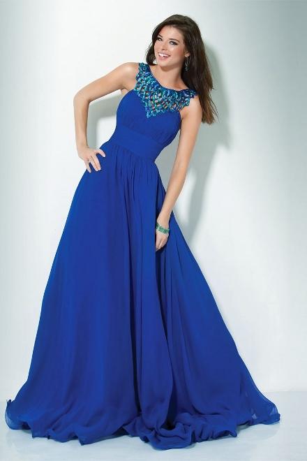 Синие платья в пол для выпускного